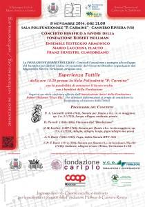 Locandina del Concerto di Cannero, 8 novembre, ore 21, presso Sala Carmine