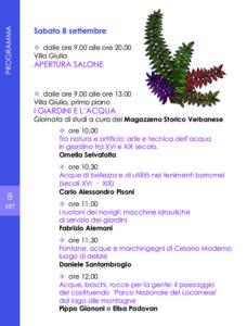 """Convegno """"Giardini d'Acqua"""" - Verbania, villa Giulia, sabato 8 settembre 2018, ore 9"""